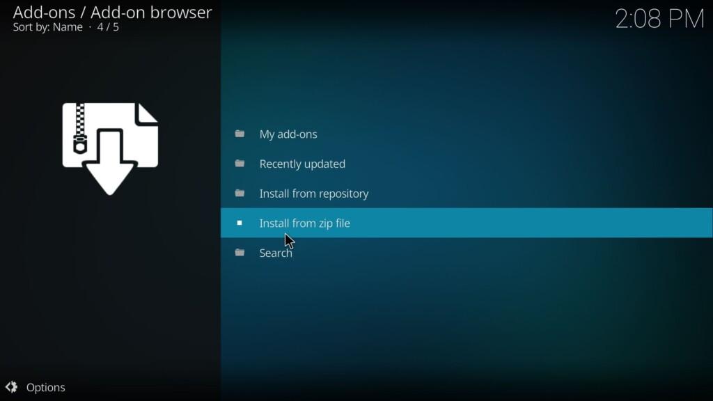 Install from zip file (Genesis Reborn Kodi Add-On)