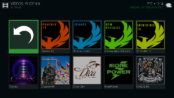 Phoenix Kodi Add-on - Main View