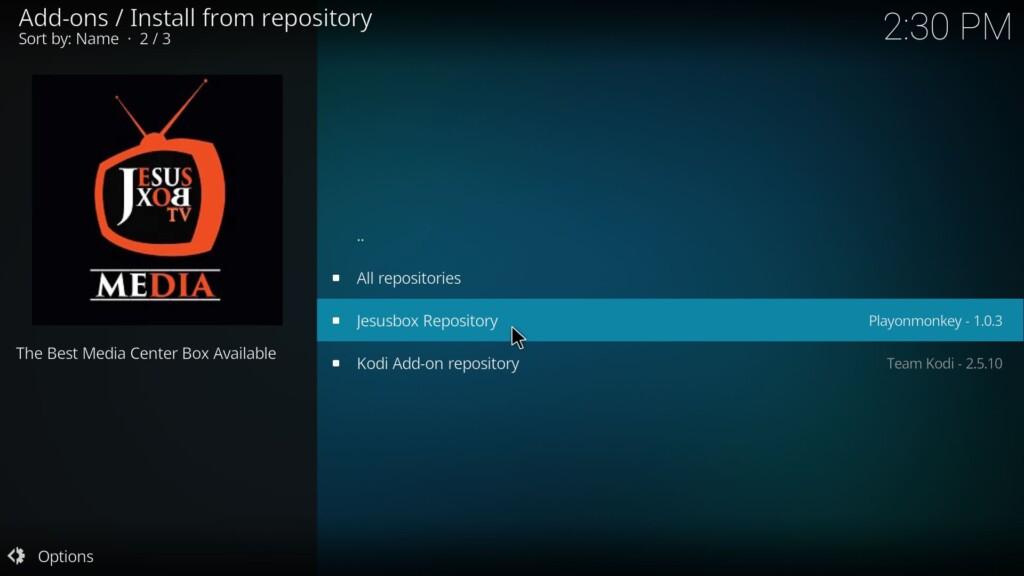 Tap on Jesusbox repository (Genesis Reborn Kodi Add-On)