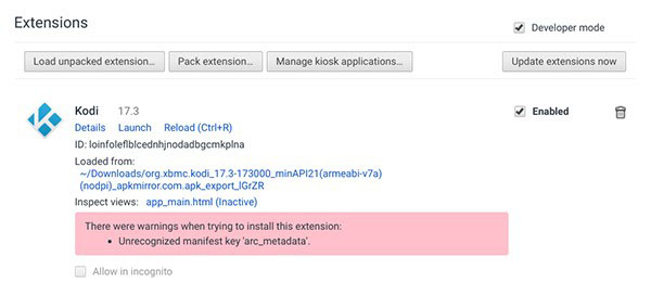 Install Kodi on Chromebook - Extensions 2