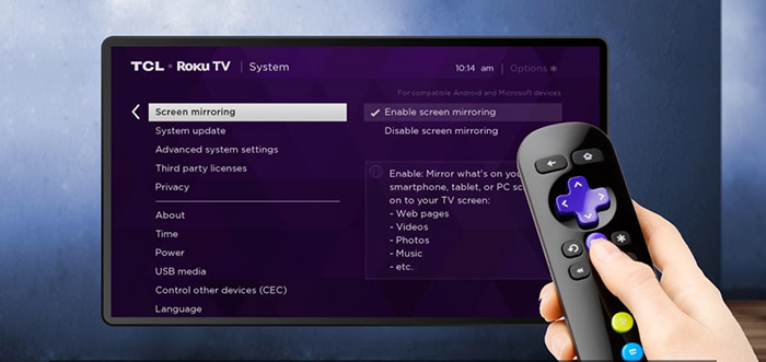 Kodi on Roku - Screen Mirroring Settings