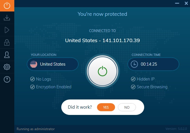 Ivacy VPN Review Client Running