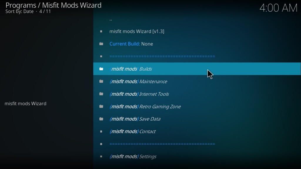 Click 'Programs Add-ons.' Now select MisfitMod wizard on the left spread.