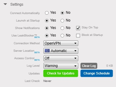 Anonymizer VPN Review Client Settings