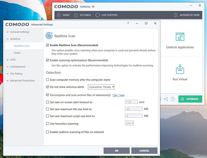 Comodo Antivirus Settings