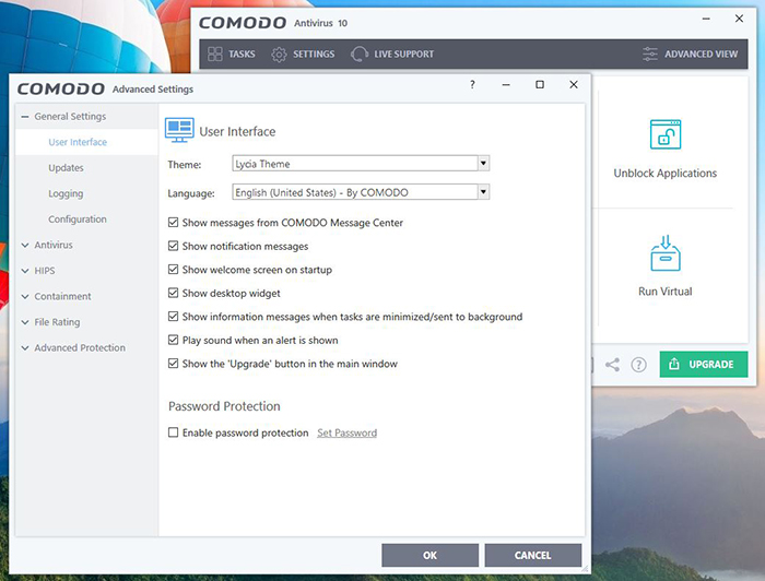 Comodo General Settings