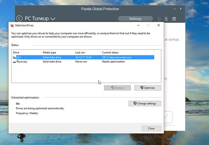 Panda Global Protection Antivirus Defragmenter Option