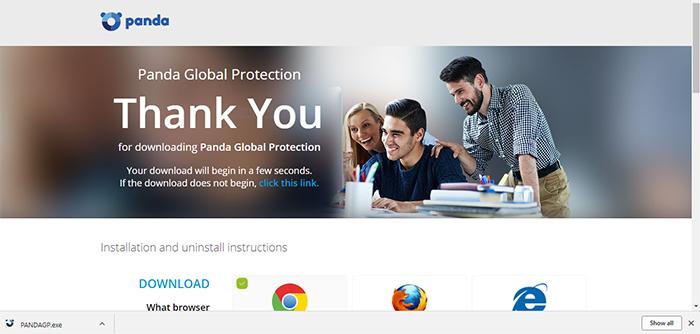 Panda Global Protection Antivirus Download Screen