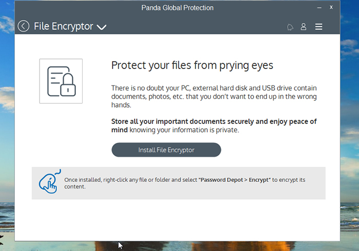 Panda Global Protection Antivirus File Encryptor Screen