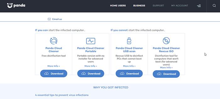 Panda Global Protection Antivirus Other Disinfect Tools Screen