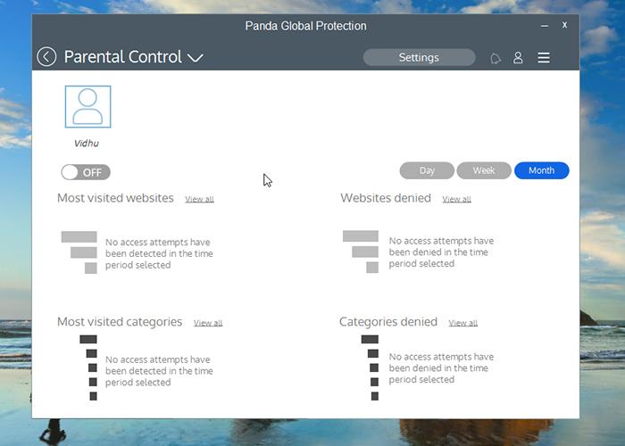 Panda Global Protection Antivirus Parental Control Screen