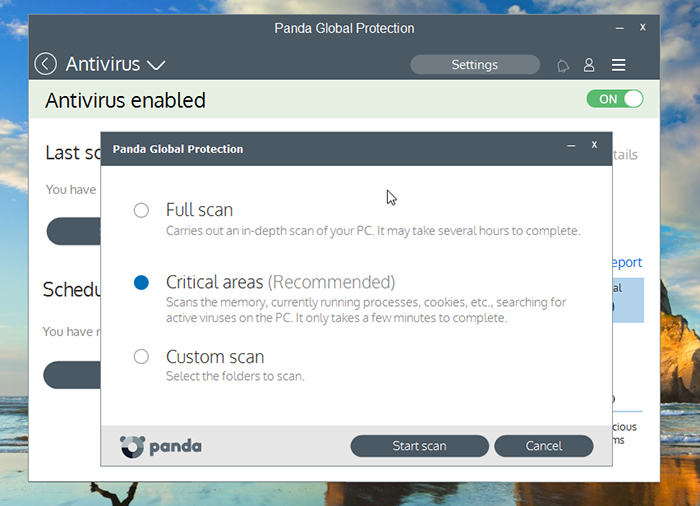 Panda Global Protection Antivirus Scan