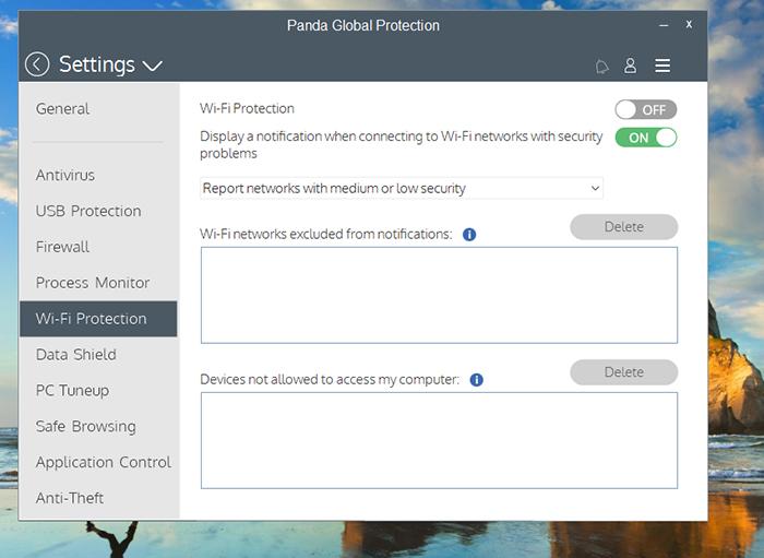 Panda Global Protection Antivirus Settings Wifi