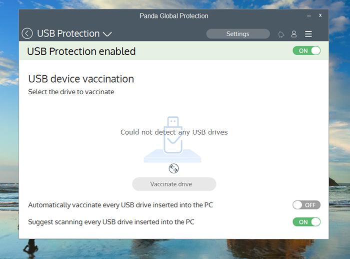 Panda Global Protection Antivirus USB Protection Screen