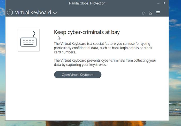 Panda Global Protection Antivirus Virtual Keyboard