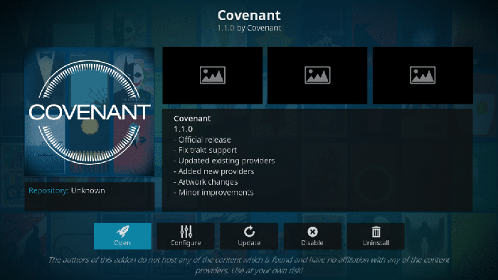 Covenant Kodi Addons stops working recently