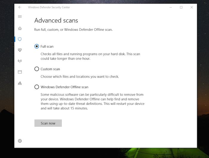 Windows Defenderscan