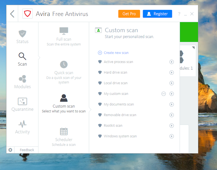 Avira Free Antivirus Custom Scan