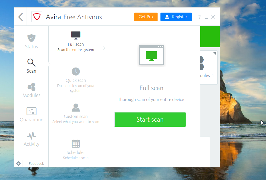 Avira Free Antivirus Full Scan
