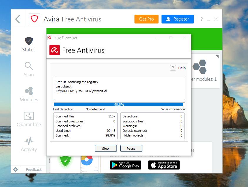 Avira Free Antivirus quick scan