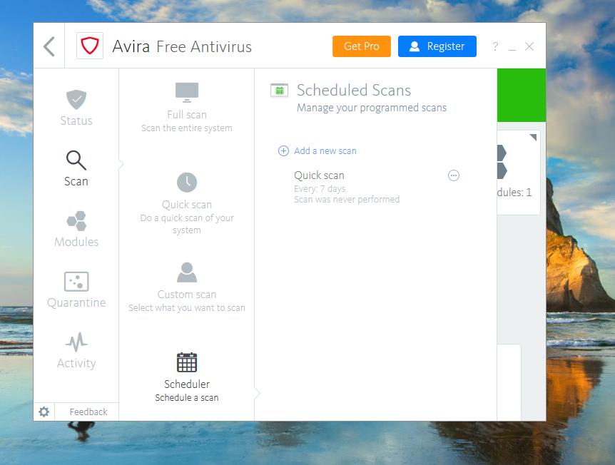 Avira Free Antivirus Scheduler
