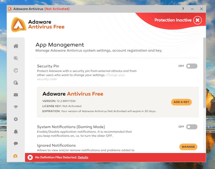 Adaware Antivirus Free App Management