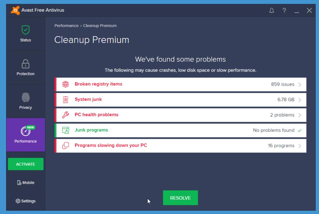 Avast Free Antivirus performance