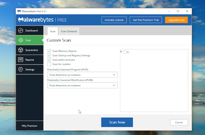 Malwarebytes Free Antivirus configure scan