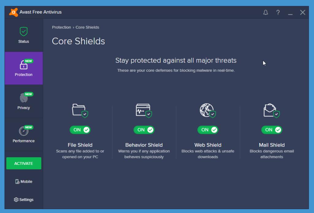 Avast Free Antivirus core shields