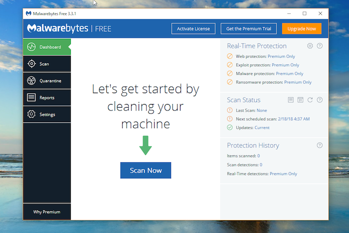 Malwarebytes Free Antivirus dashboard