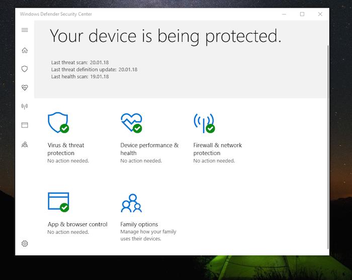 Windows Defender Dashboard
