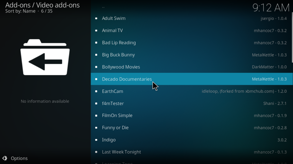 Decado Documentaries Kodi Addon - Decado Documentaries
