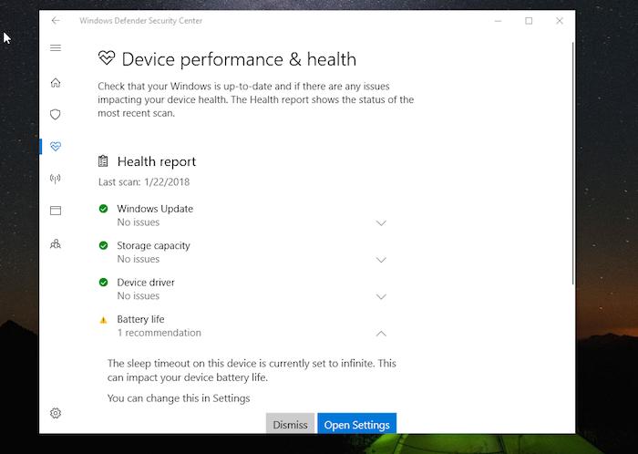 Windows DefenderDevice Performance Health