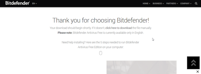 Bitdefender Free Antivirus Download Page