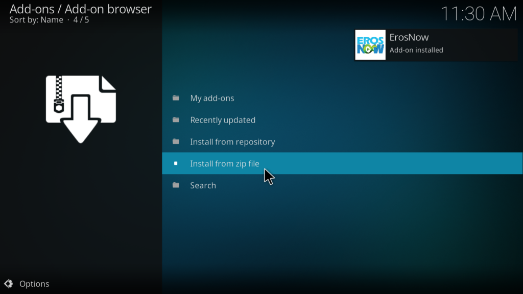 ErosNow Kodi Addon - Notification