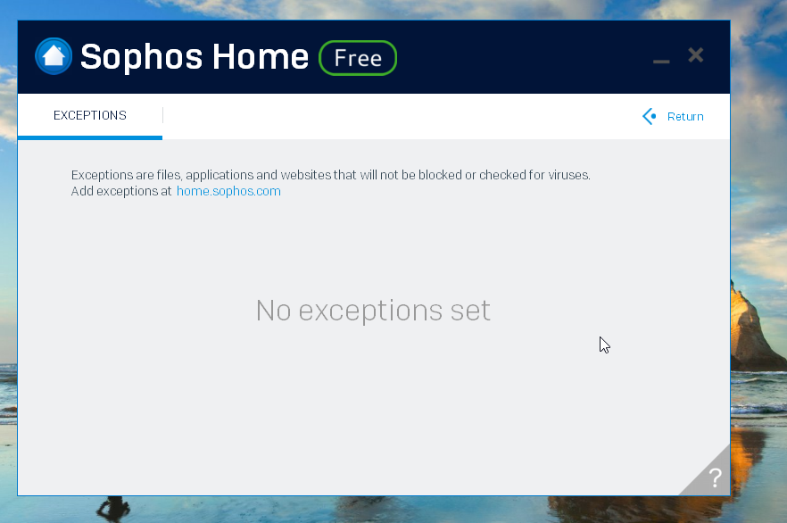 Sophos Home Antivirus Exceptions