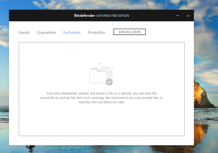 Bitdefender Exclusions Screen