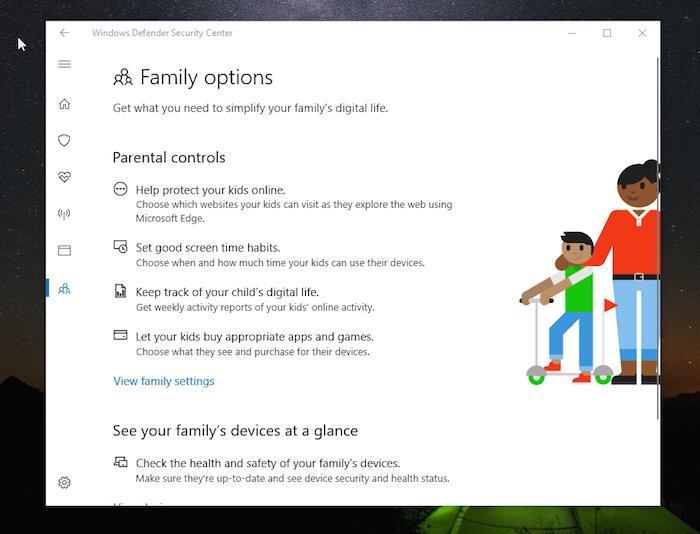 Windows DefenderFamily Options