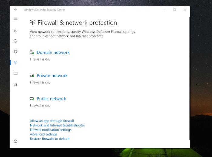 Windows DefenderFirewall