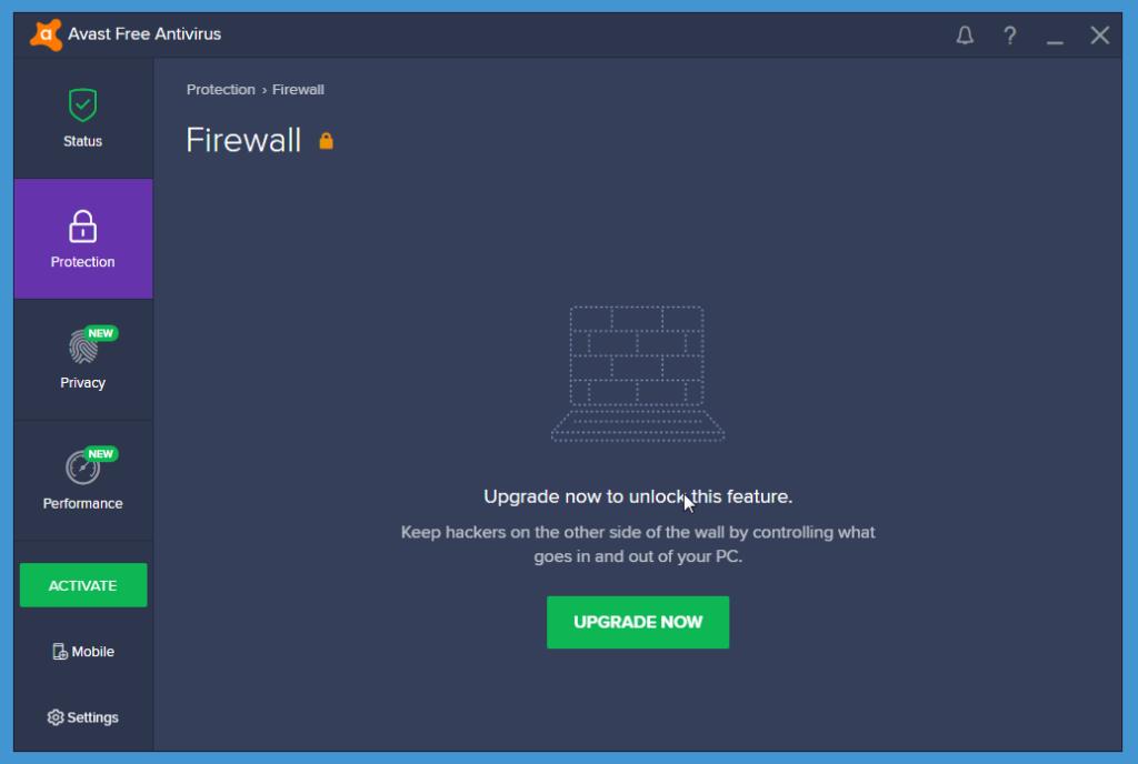 Avast Free Antivirus firewall
