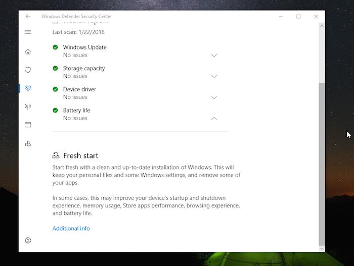 Windows DefenderFresh Start