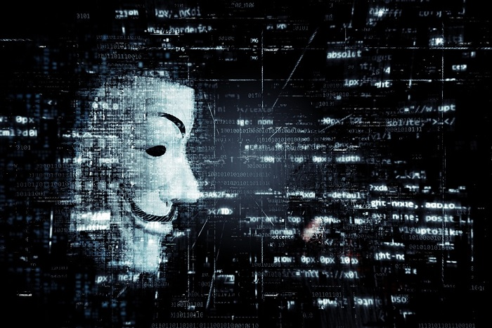 Guy Fawkes Mask with Computer code backdrops
