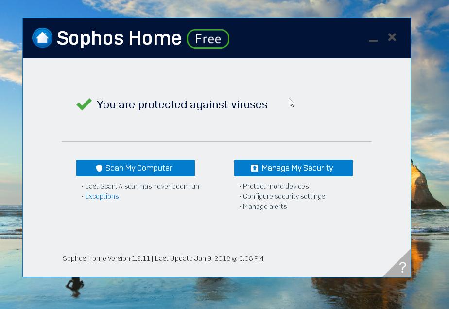 Sophos Home Antivirus Home Screen