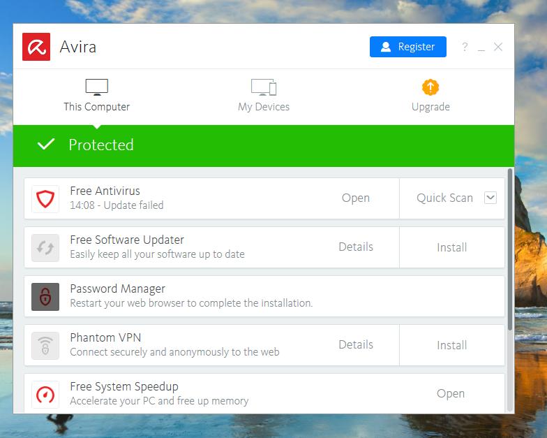 Avira Free Antivirus Homescreen