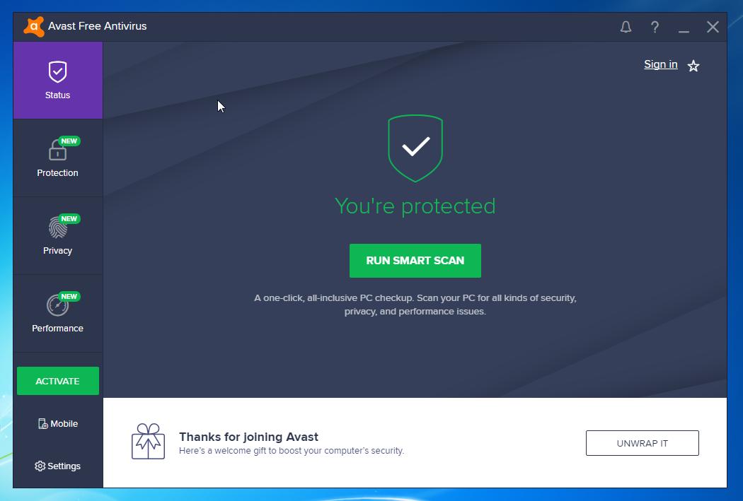 Best Free Antivirus 2018: Avast Free Antivirus home screen