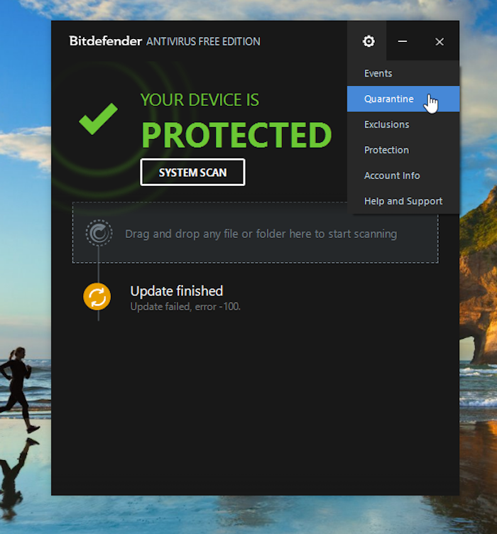 Bitdefender Settings Menu