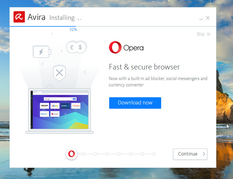 Avira Free Antivirus Opera Screen