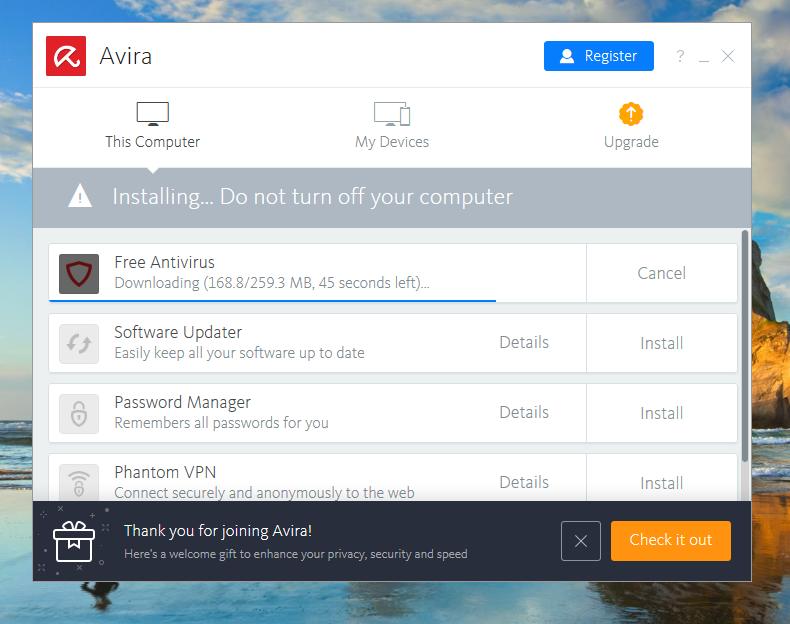 Avira Free Antivirus Install