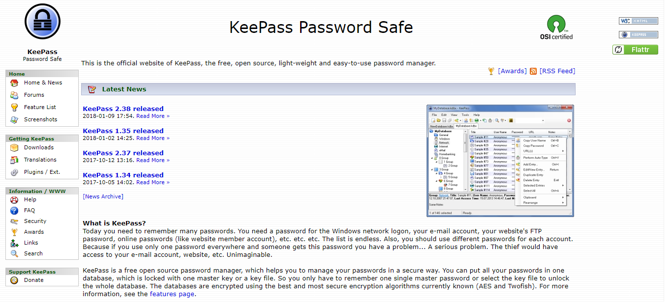 KeePass Best Password Managers 2018