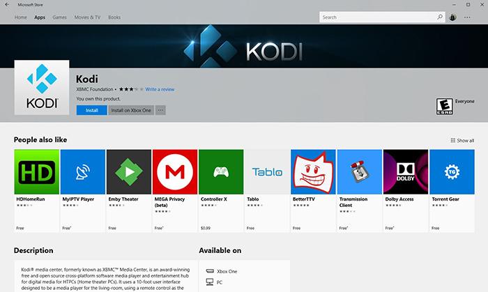 Kodi 18 Microsoft Store